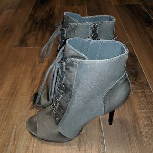 Simply Vera Wang Lace up Open Toe Bootie Heel